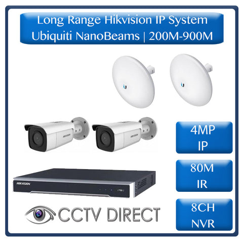 Hikvision 2 Camera IP long range kit, 200-900m, 8ch NVR, Ubiquity Nanobeams, 80m Night vision