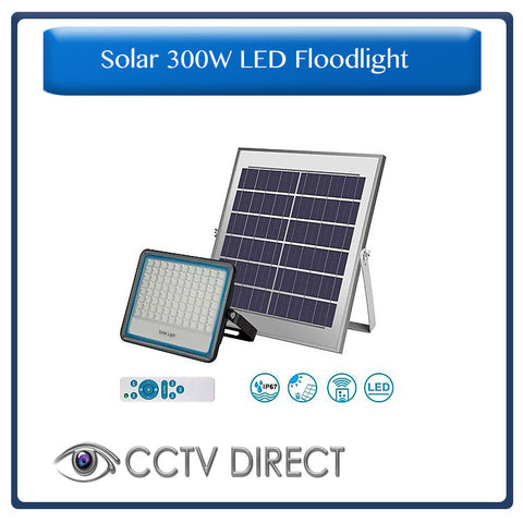 Solar 300w LED Floodlight with Remote Control & Day/night switch
