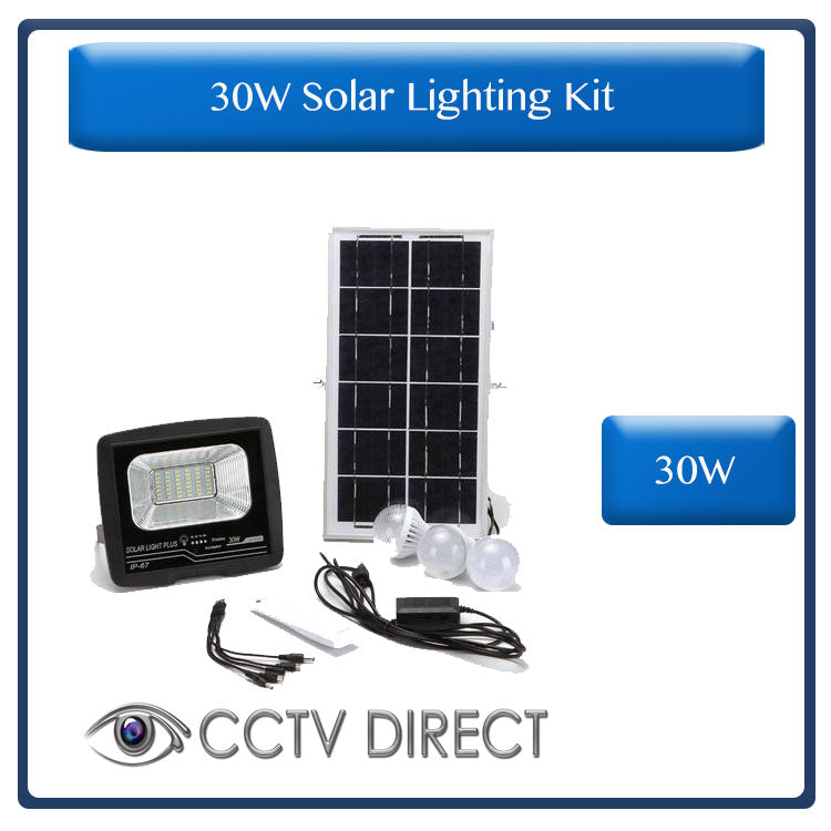 30w Solar Lighting kit, Solar Panel, 30w Solar floodlight, 3 x Indoor LED Bulbs, 5 in 1 USB charging cable