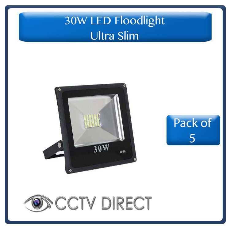** Pack of 5 ** New Ultra Slim 30W LED Floodlight, IP66, energy saving (R220 each)