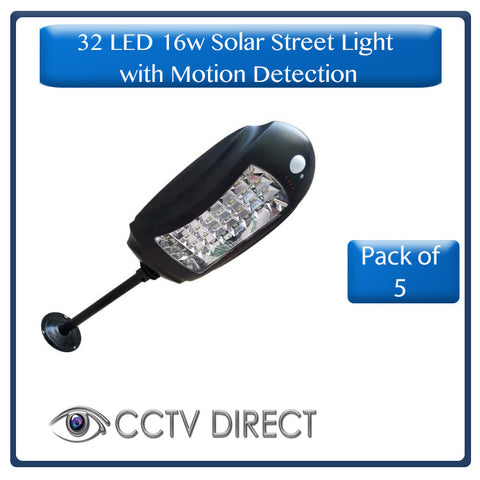 *** Pack of 5 *** 32 LED 16w Solar Street light with motion detection, mounting bracket and pole (R550 each)