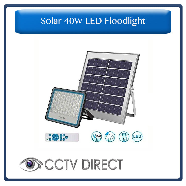 Solar 40w LED Floodlight with Remote Control & Day/night switch