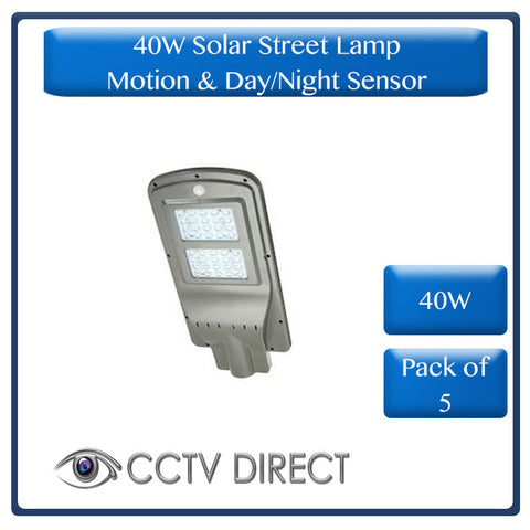 **Pack of 5** 40W Solar Street Lamp With Motion Sensor & Day/Night Sensor (R540 each)