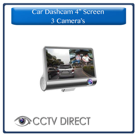 4″ Screen Car Dash Camera with 3 cameras, night vision