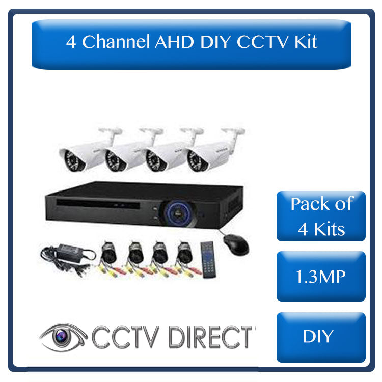 *Pack of 4 kits* DIY 4 Channel AHD kit with 1.3MP digital camera's, 720P recording and internet remote viewing ( R1350 each)
