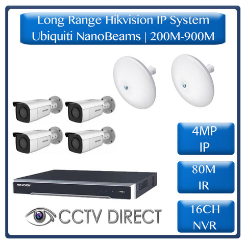 Hikvision 4 Camera IP long range kit, 200-900m, 16ch NVR, Ubiquity Nanobeams, 80m Night vision