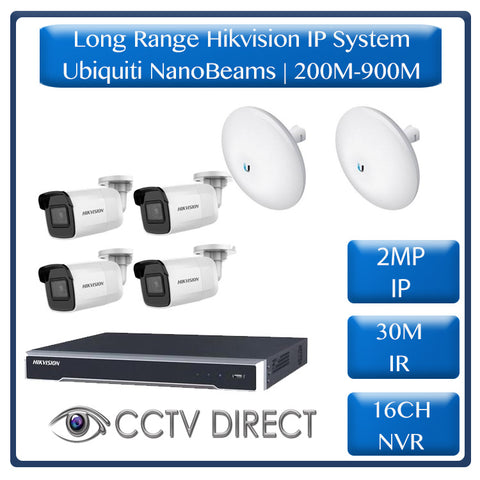 Hikvision 4 Camera IP long range kit, 200-900m, 16ch NVR, Ubiquity Nanobeams, 30m Night vision