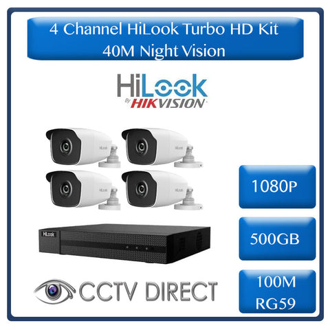 HiLook by HikVision 4 Ch Turbo HD Kit - HD DVR - 4 x HD1080P Cameras - 40M Night vision - 500GB HD - 100m Cable