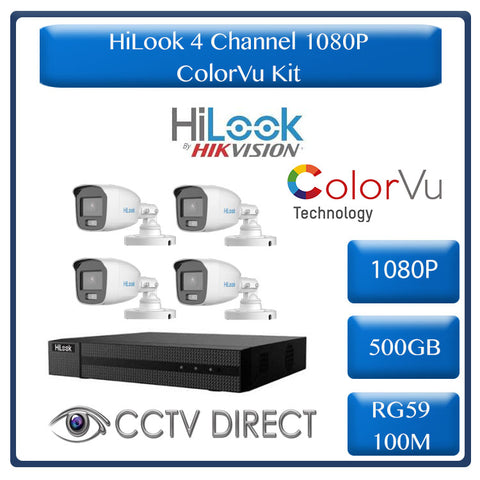 Colour Night vision - Hilook by Hikvision 4ch Turbo HD kit - 4 x 1080p ColorVu cameras - 20m Full colour night vision - 500GB HDD - 100m Cable