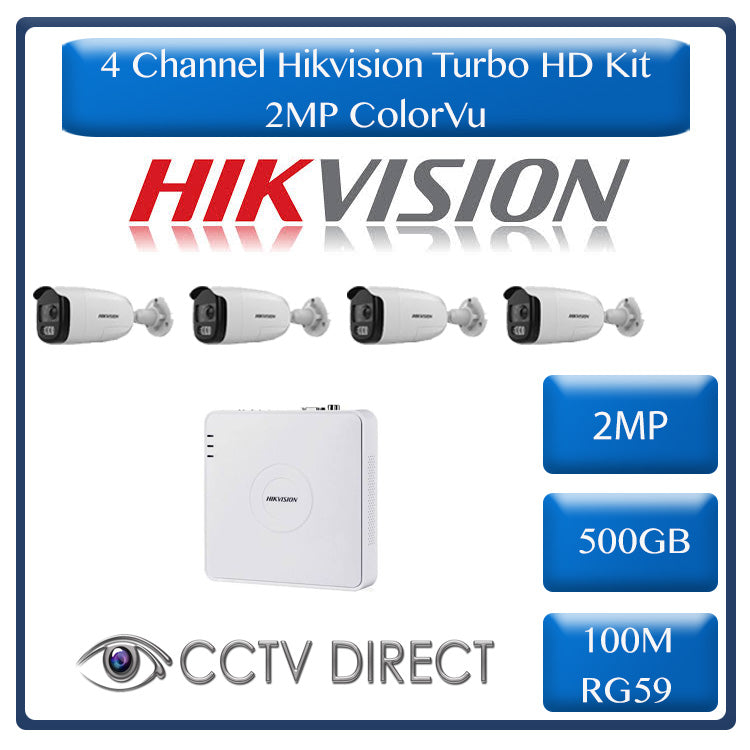 HikVision 4 Ch ColorVU HD Kit - HD DVR - 4 x HD1080P ColorVU Cameras - 40M Full Colour Night vision - 500GB HD - 100m Cable
