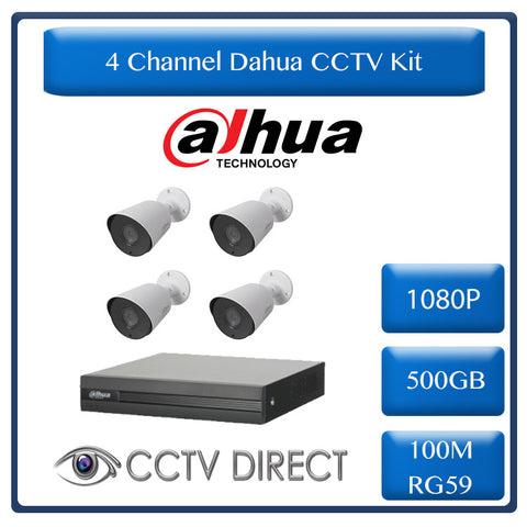 Dahua 4ch HDCVI kit - Pentra-Brid XVR - 4 x 1080P cameras - 20m Night vision - 500GB HDD - 100m cable
