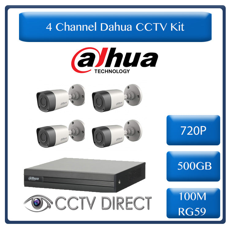 Dahua 4ch HDCVI kit - Pentra-Brid XVR - 4 x 720P  cameras - 20m Night vision - 500GB HDD - 100m cable