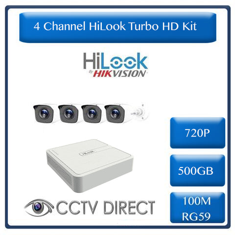 HiLook by Hikvision 4ch Turbo HD kit - DVR - 4 x HD720P Camera - 20M Night vision - 500GB HD - 100m Cable
