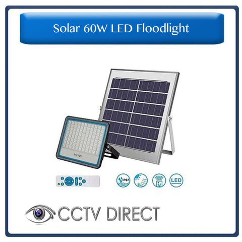 Solar 60w LED Floodlight with Remote Control & Day/night switch