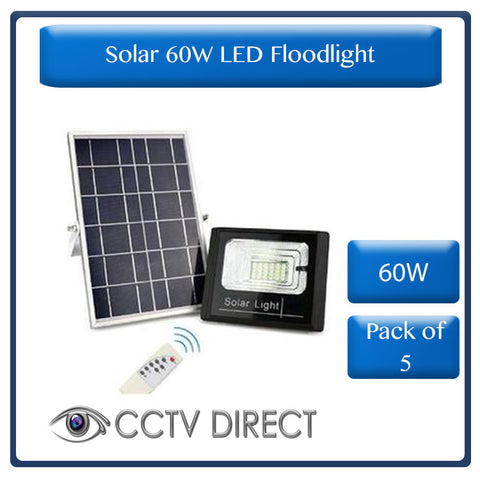 **pack of 5** Solar 60w LED Floodlight with Remote Control & Day/night switch ( R800 each)