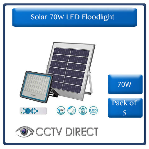 *** Pack of 5 *** Solar 70w LED Floodlight with Remote Control & Day/night switch (R760 each)
