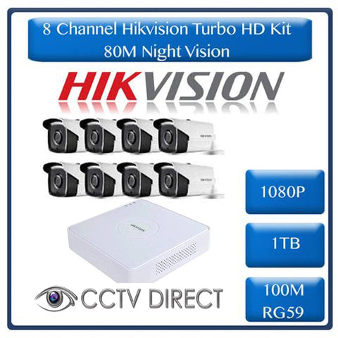 HikVision 8 Ch Turbo HD Kit - Embedded DVR - 8 x HD1080P Camera - 80M Night vision - 1TB HD - 100m Cable