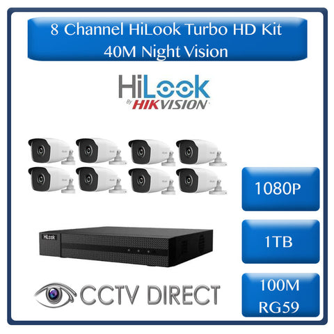 HiLook by HikVision 8 Ch Turbo HD Kit - HD DVR - 8 x HD1080P Cameras - 40M Night vision - 1TB HD - 100m Cable