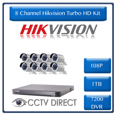 HikVision 8 Ch Turbo HD Kit - 7200 series DVR up to 4MP - 8 x HD1080P Camera - 20M Night vision - 1TB HD - 100m Cable