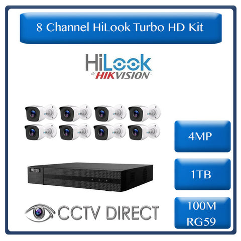 HiLook by Hikvision 8ch 4MP Turbo HD kit - HD DVR up to 4MP - 8 x HD 4MP cameras - 1TB HDD - 100m Cable - 20m Night vision