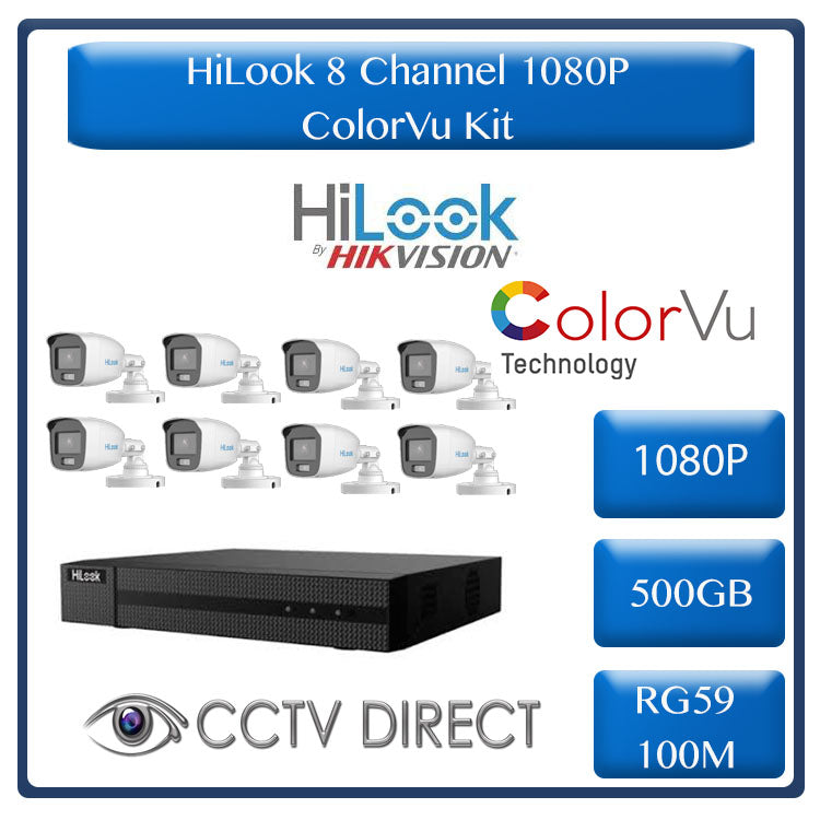 Colour Night vision - Hilook by Hikvision 8ch Turbo HD kit - 8 x 1080p ColorVu cameras - 20m Full colour night vision - 500GB HDD - 100m Cable