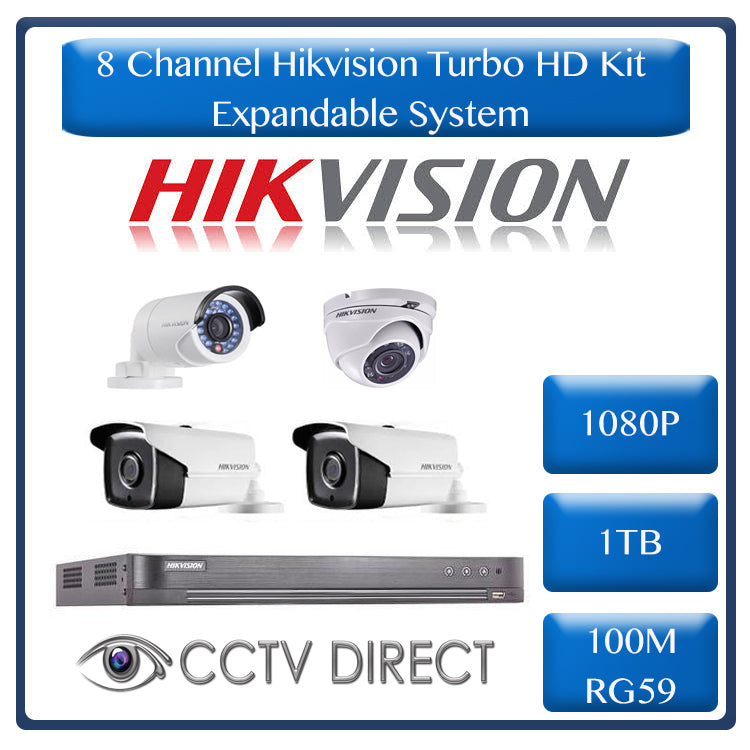 Hikvision 8ch Turbo HD kit, 8ch Turbo HD DVR up to 4MP, 1 x 1080p Dome, 1 x 1080p Bullet 20m IR, 1 x 1080p Bullet 40m IR, 1 x 1080p Bullet 80m IR, 1TB HDD