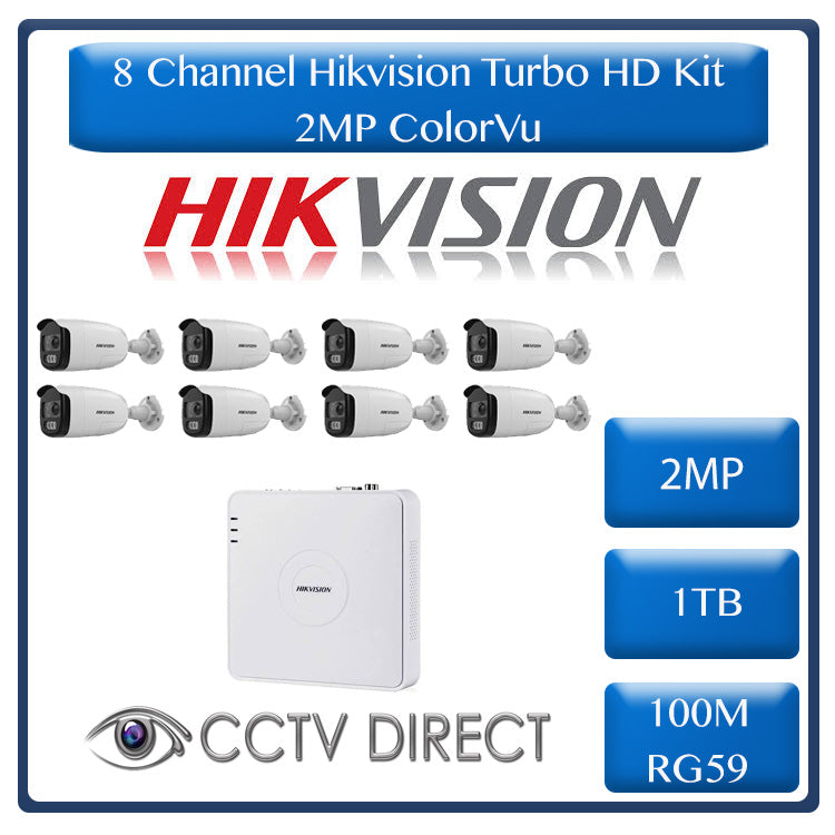 HikVision 8 Ch ColorVU HD Kit - HD DVR - 8 x HD1080P ColorVU Cameras - 40M Full Colour Night vision - 1TB HD - 100m Cable