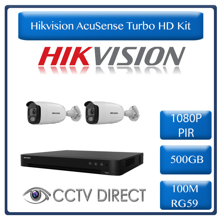 Hikvision AcuSense Turbo HD Kit - Hikvision 4ch AcuSense HD DVR - 2 x Hikvision PIR siren cameras - 40m Night vision - 500GB HDD - 100m Cable