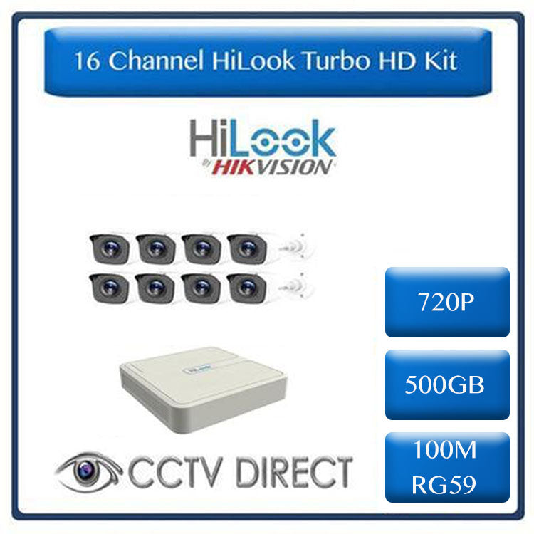 HiLook by HikVision 16 Ch Turbo HD Kit - 16 ch Turbo HD DVR - 8 x HD720P Camera - 500GB HD - 100m Cable - 20m Night vision