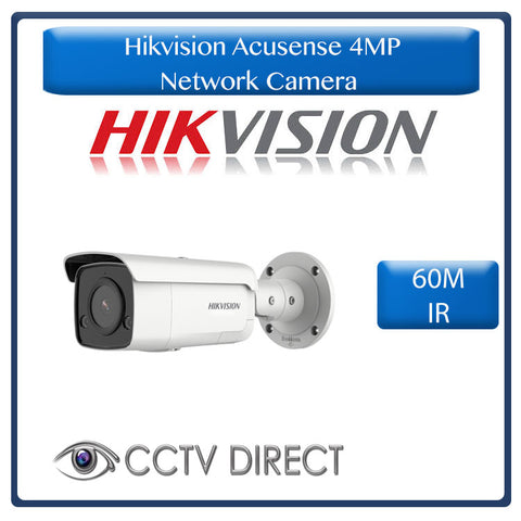 Hikvision Acusense 4MP IR Fixed Bullet Network Camera powered by Darkfighter, 60m Night vision with STROBE Light & ALARM