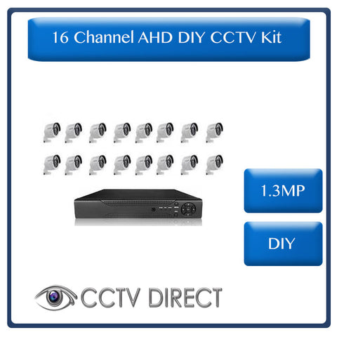 DIY 16 Channel AHD kit with 1.3MP digital camera's, 720P recording and internet remote viewing