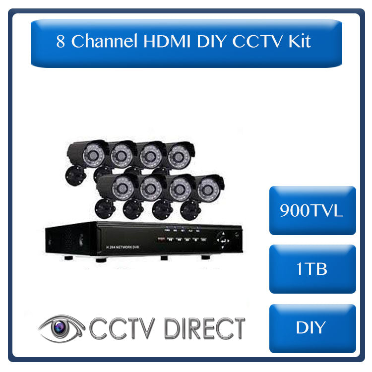 8 Channel HDMI DIY CCTV Kit With Internet & 3 G Phone Viewing and 1 TB Hard Drive
