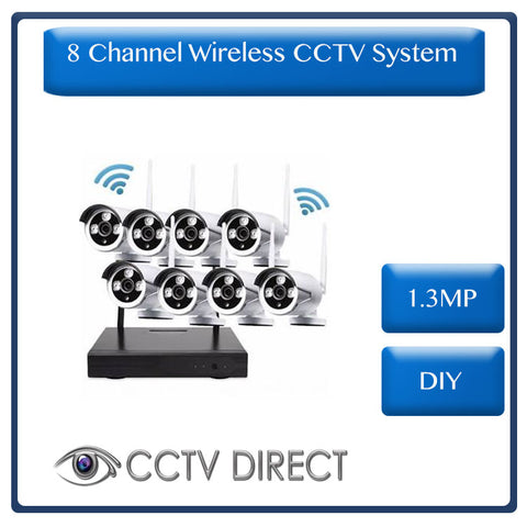 Wireless 8 Channel HD NVR Kit, 1.3MP - DIY