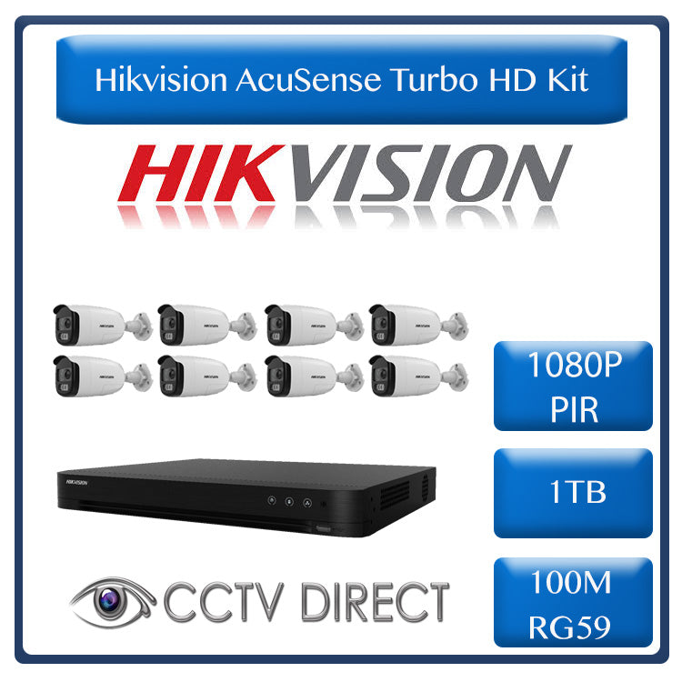 Hikvision AcuSense Turbo HD Kit - Hikvision 16ch AcuSense HD DVR - 8 x Hikvision PIR siren cameras - 40m Night vision - 1TB HDD - 100m Cable