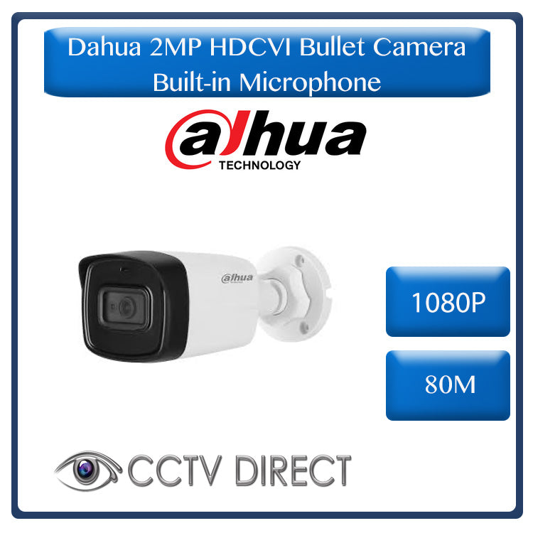 DAHUA 2MP 1080P HDCVI 80m IR Bullet Camera with Built-in microphone