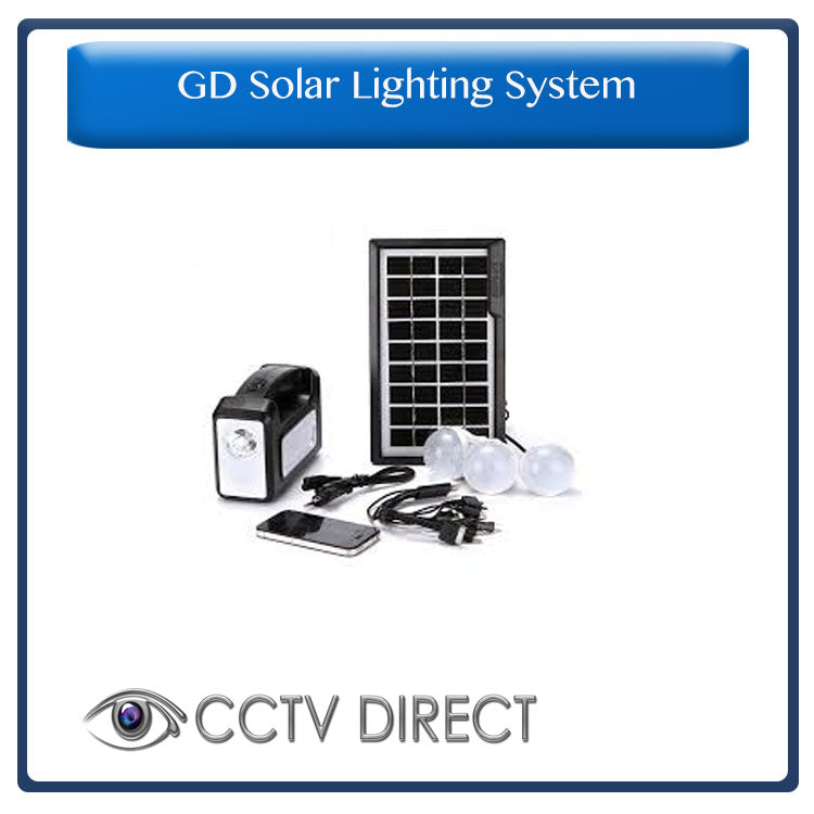 GDlite Solar Ligthing System with a Torch & 3 x SMD LED bulbs, solar panel. Charges cellphone