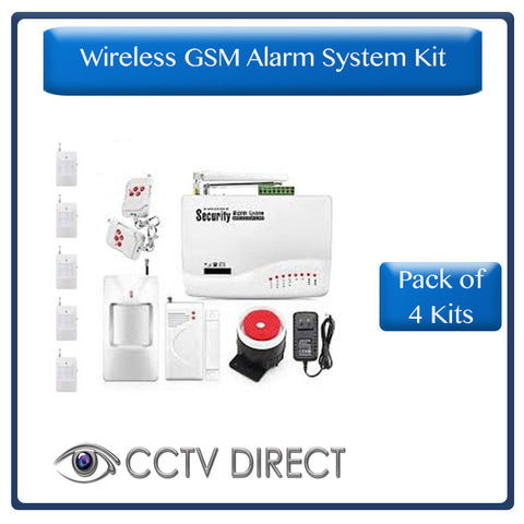 *Pack of 4 Kits* Wireless GSM Alarm System - Sends you an SMS when triggered. 6 x PIR, 1 x Gap detector ( R1400 each)