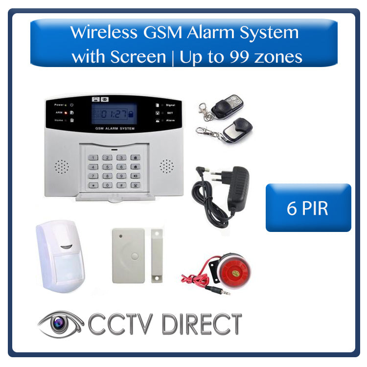 Wireless GSM Alarm System with screen, up to 99 zones - Sends you an SMS when triggered. 6 x PIR, 1 x Gap detector