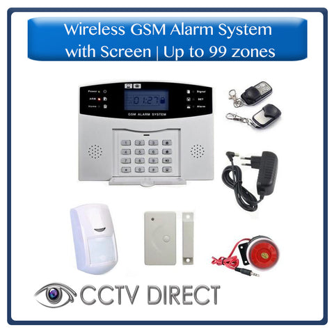 Wireless GSM Alarm System with  screen, up to 99 zones - Sends you an SMS when triggered. 1 x PIR, 1 x Gap detector