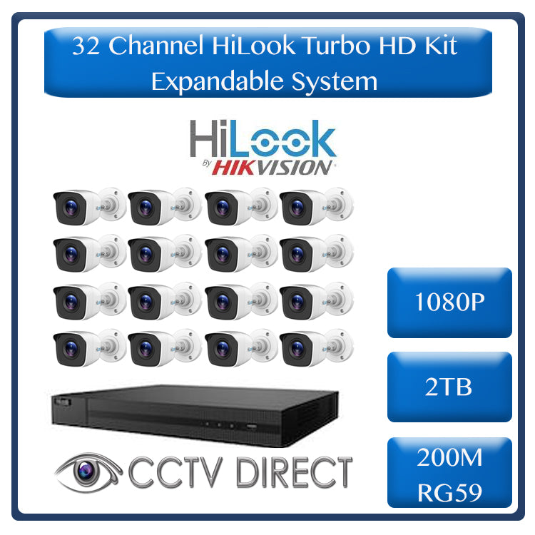 HiLook by Hikvision 32ch Turbo HD DVR, 16 x Hilook 1080p 20m IR cameras, 2TB HDD, 2 x 100m rg59