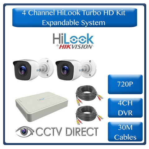 HiLook by Hikvision 4ch Turbo HD DVR, 2 x HiLook 720p cameras, 20m IR, 2 x 30m cable