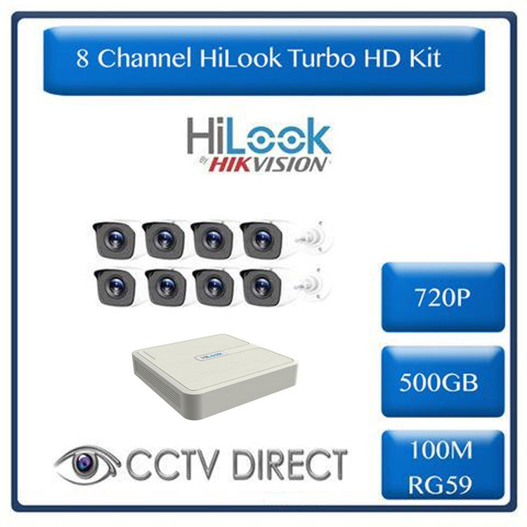 HiLook by Hikvision 8ch Turbo HD kit - DVR - 8 x HD720P Camera - 20M Night vision - 500GB HD - 100m Cable