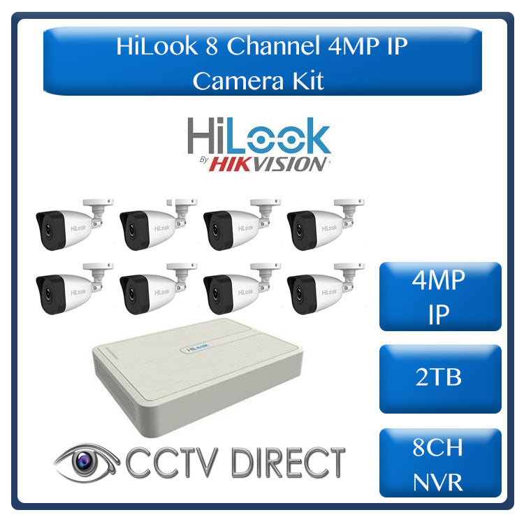 HiLook 4MP IP camera kit - 8ch NVR - 8 x 4MP IP cameras - 2TB HDD - 100M cable - 30M Night vision