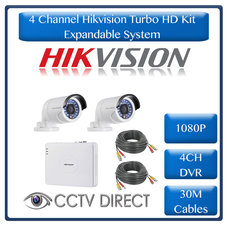 Hikvision 4ch Turbo HD DVR, 2 x Hikvision 1080p cameras 20m IR, 2 x 30m cables