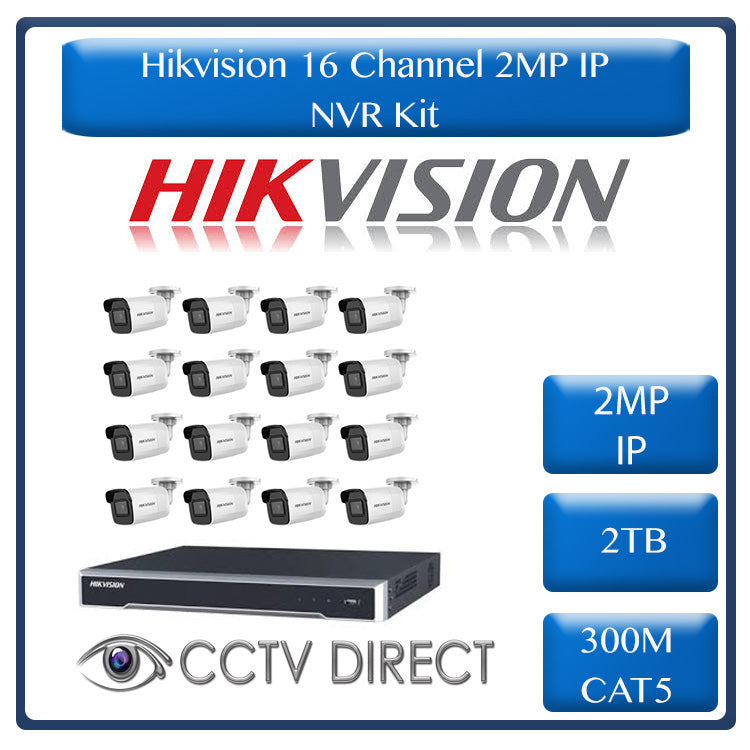 Hikvision 2MP IP camera kit, 16ch NVR with 16 POE, 16 x Hikvision 2MP IP bullet cameras 30m IR, 2TB HDD, 300m cable