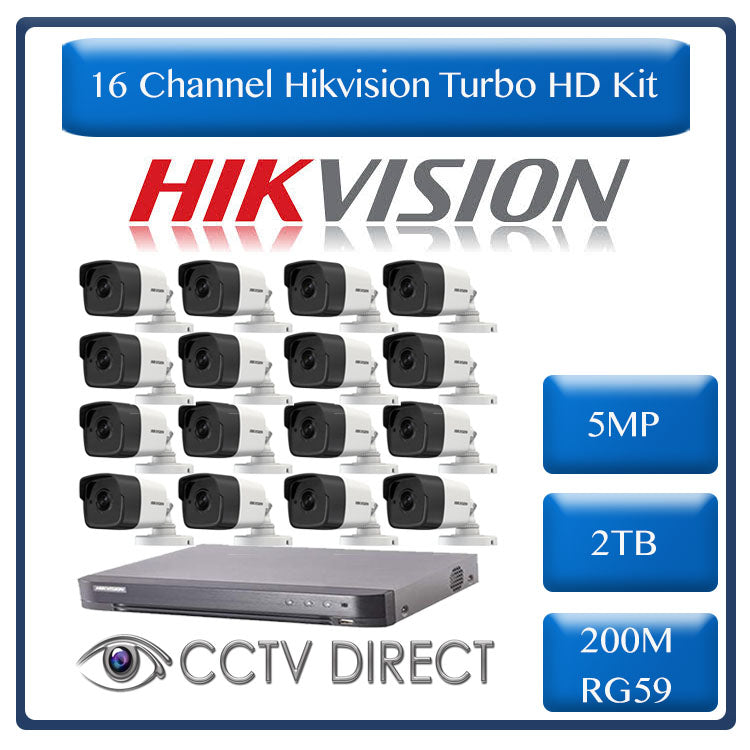 Hikvision 16ch 5MP Turbo HD kit - HD DVR up to 8MP - 16 x HD 5MP cameras - 2TB HDD - 200m Cable - 20m Night vision