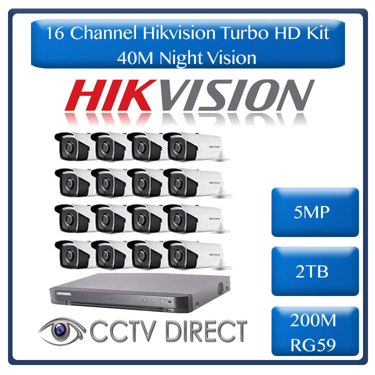 Hikvision 16ch 5MP Turbo HD kit - HD DVR up to 8MP - 16 x HD 5MP cameras - 2TB HDD - 200m Cable - 40m Night vision