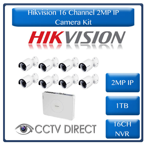 Hikvision 2MP IP camera kit - 16ch NVR - 8 x 2MP IP cameras - 1TB HDD -  100m Cat5 cable