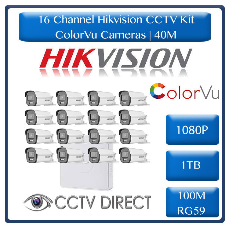 Hikvision 16ch Turbo HD Kit - HD DVR - 16 x 1080p ColorVu cameras - 40m Full colour night vision - 1TB HDD - 100m Cable