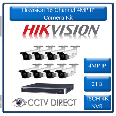 Hikvision 4MP IP camera kit - 16ch 4K NVR - 8 x 4MP IP cameras - 2TB HDD - 100M cable - 80M Night vision